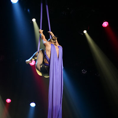 An acrobat during a Queensryche show at Turning Stone Casino.