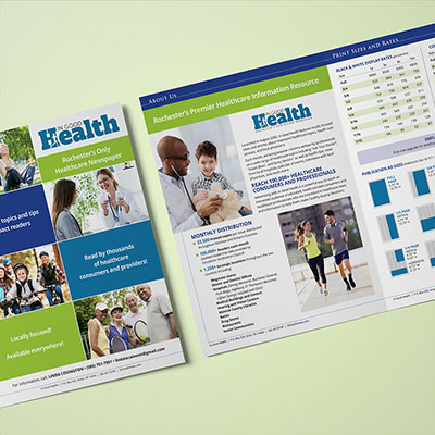 An advertising media kit for a heath publication that publishes four different editions in Upstate New York.