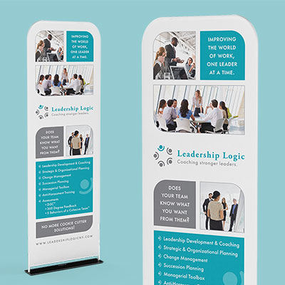 A pop-up banner for Leadership Logic, an executive coaching company located in Rochester.