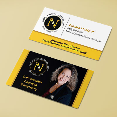 A business card for the owner of a digital marketing firm that specializes in funeral homes.