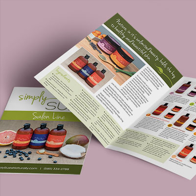 A bi-fold flyer for an all-natural skin care line.