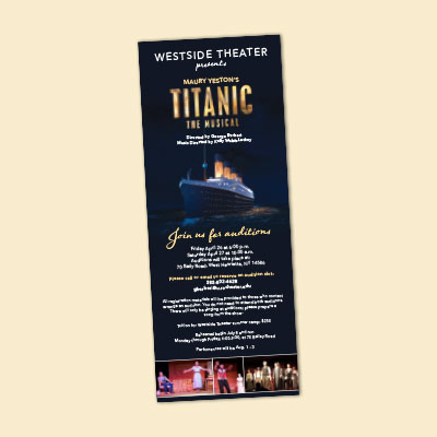 "A print advertisement for a theater camp announcing their production of ""Titanic""."