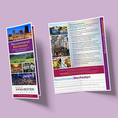 A brochure for Visit Rochester promoting Rochester as a location for upcoming events and conferences.